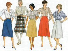 Misses A-Line Midi Skirt with Pleats, Side Pockets, Flared Skirt, Back Zipper, Size 8-10-12, Butterick Sewing Pattern 6550, Uncut by TheGrannySquared on Etsy