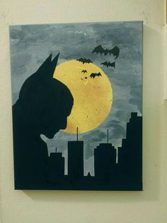 "Batman Overlooking Gotham painting - 11"" x 14"""