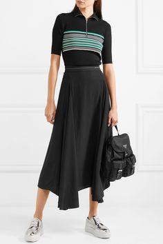 d55bea42930a2 Prada - Asymmetric pleated satin midi skirt