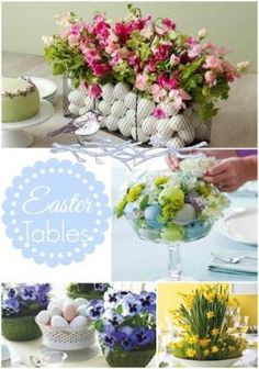 Easter Ideas-The Centerpiece Edition! Lots of ideas for your Spring/Easter Table! #springtable #eastertable by joanne