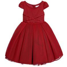 Monnalisa Couture - Red Neoprene & Tulle Dress with Velvet Ribbon | Childrensalon