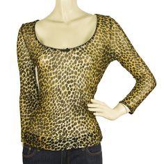 Dolce & Gabbana D&G Intimo Animal print Sheer Long Sleeve Blouse Top size L 44