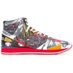Kenzo multi icon hi-top sneakers ($272) ❤ liked on Polyvore featuring men's fashion, men's shoes, men's sneakers, red, shoes, mens red high top sneakers, mens red shoes, mens leather lace up shoes, kenzo mens shoes and mens black leather high top sneakers