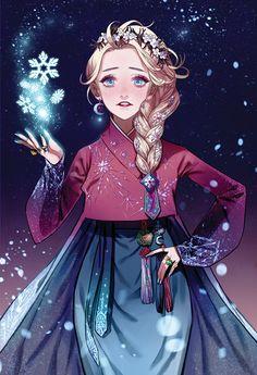 "Disney and Dreamworks Characters in Korean Hanbok - Elsa from ""Frozen"" - Art by Byajae Art Disney, Disney Films, Disney Magic, Disney Characters, Disney Princesses, Frozen Art, Elsa Frozen, Disney Frozen, Disney E Dreamworks"