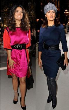 Cinching at the waist with a wide contrasting belt color draws the eye directly to a large horizontal stripe. This look only makes you appear wider, which is what happened to Salma Hayek in the pink dress ensemble. Fashion faux pas!