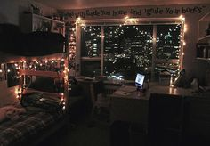 Fairy lights and dorm decor. ~ This is cool. I like the Coldplay lyrics at the top too :)