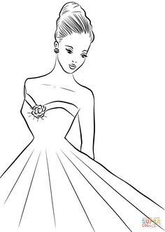 Woman coloring page Art Drawings Sketches Simple, Pencil Art Drawings, Cute Drawings, Free Printable Coloring Pages, Free Coloring Pages, Coloring Books, Coloring Sheets, Kids Coloring, Adult Coloring