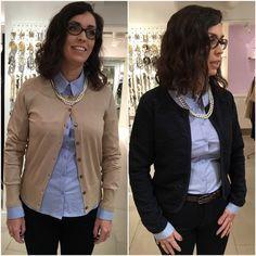 Vaaleansininen kauluspaita ja beige neuletakki tai tummansininen jakku.  Beige or navy jacket