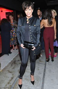 Taking a fashion risk: Kris Jenner sported a skintight body stocking to Brian Atwood's celebration of PUMPED in Los Angeles on Friday Kourtney Kardashian, Kardashian Style, Kardashian Jenner, Robert Kardashian, Kardashian Family, Kendall Jenner, Kris Jenner Style, Fashion Mumblr, Mature Fashion