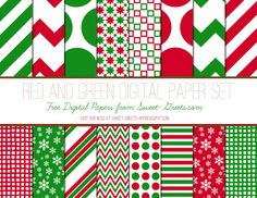 Just Peachy Papers: Free Red and Green Digital Paper Set