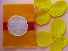 Easy chips, cut two pieces yellow felt, sew together, add additional  stitches in the middle for 'ridges'