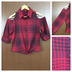 Buy yours today: Checked Cold - Sh..., visit http://ftfy.bargains/products/checked-cold-shoulder-dark-light-red-and-black-check-shirt-with-front-knot?utm_campaign=social_autopilot&utm_source=pin&utm_medium=pin  #amazing #affordable #fashion #stylish