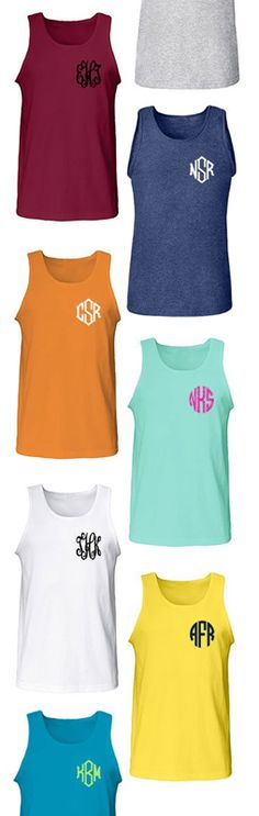 Monogrammed Chest Poolside Tank Top from Marleylilly.com