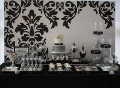 A Chic Black and White Damask Wedding Shower : Anders Ruff Custom Designs :