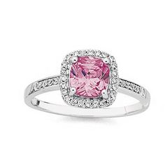 Sterling Silver Pink Cubic Zirconia Cushion Cluster Ring | Prouds The Jewellers