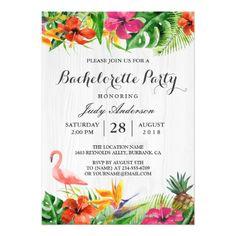 Tropical Floral Flamingo Luau Bachelorette Party Card