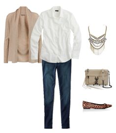 3 white shirt - taupe cardigan - jeans