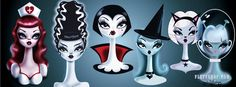 Halloween spooky dollies Facebook cover! Original art by Miss Fluff/ Claudette Barjoud. Bride of Frankenstein, witch, nurse, cat girl, and alien. www.fluffshop.com #halloween
