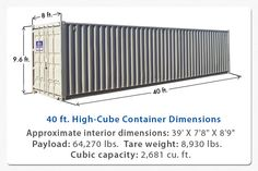 40 ft High Cube Sea Shipping Container.