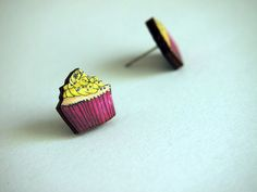 Bright Pink and Yellow Mini Cupcake Earrings by HungryDesigns