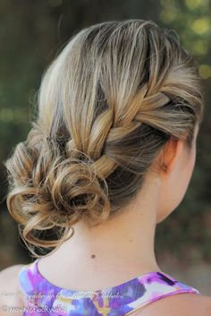 side french braid. Just a pic for inspiration. Do a loose side french braid. If your hair is too short to do a nice, curly bun at the end, can use of those faux hair scrunchies