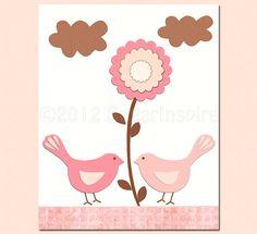 Pink love birds nursery Art Print 8x10 kids Room by SugarInspire