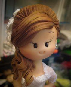 Noivinhos Karol Leitao Cute Polymer Clay, Polymer Clay Dolls, Polymer Clay Crafts, Fondant Hair, Clay People, Country Wedding Cakes, Fondant Tutorial, Clay Figures, Pasta Flexible