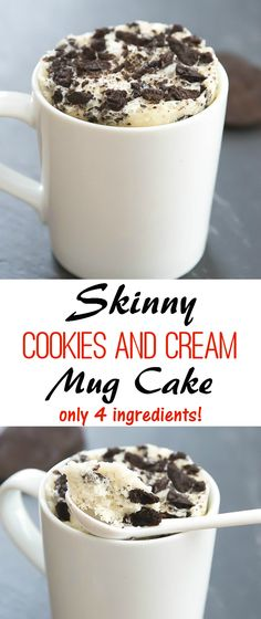 Skinny Cookies and Cream Mug Cake. Just 4 ingredients and under 200 calories!