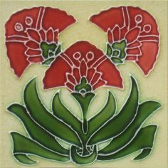 Art Nouveau Reproduction Decorative Ceramic Tile 6 X 6 inches 49
