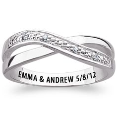 Sterling Silver Couples Genuine Diamond Swirl Engraved Promise Ring