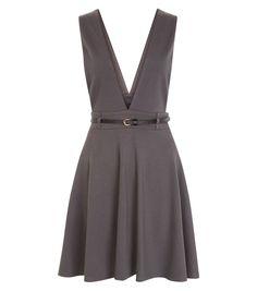 Grey Deep V Belted Pinafore Skater Dress  | New Look