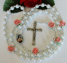 St Therese Large Floral Catholic Rosary, $38.00