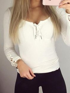 White Crochet Lace Sleeve Lace-up T-Shirt Top