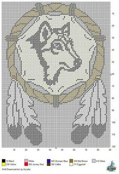 8babdc2486d162e23d0938f45fc0e06c.jpg (662×960) Wolf dream catcher in plastic canvas or cross stitch.