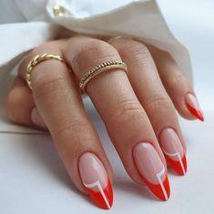 Stylish Nails, Trendy Nails, Cute Nails, Acrylic Nail Tips, Simple Acrylic Nails, Colored Nail Tips, Colored French Tips, Sns Nails Colors, Colorful Nails