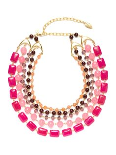 Pink Glass & Jade Multi-Strand Bib Necklace by David Aubrey at Gilt