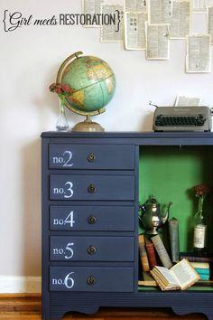 Industrial Chic Restoration Hardware - esque Refinished Cabinet.