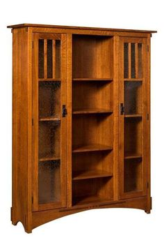 Amish Mission Display Bookcase Mission style wood bookcase. Choose wood and stain to customize yours. Amish made in America. #bookcase #missionfurniture #woodbookcases