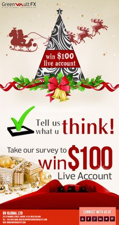 Christmas Offer !! Hurry !! Win Free 100$ Live Accounts just by filling up a survey. Limited Offer !! Happy #Forex #Trading ! Advanced Merry Christmas !