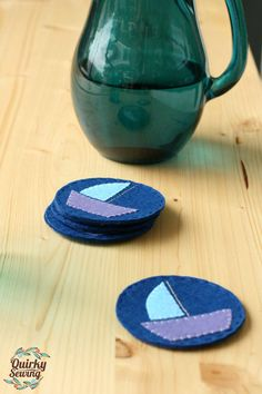 Navy Felt Coasters Nautical Coasters Boat Coasters by QuirkySewing
