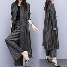 New Large Size Women's Loose Striped Jacket Pants Two Sets Of Casual Fashion Wide Leg Pants Suit Women look chipper and natural. NewChic has a lot of women T-shirts online for your choice, believe you will find your cup of tea. Muslim Fashion, Hijab Fashion, Fashion Dresses, Fashion Fashion, Hijab Stile, Striped Jacket, Striped Dress, Stylish Dresses, Wide Leg Pants