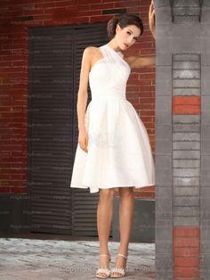 A-line Halter Satin Tulle Knee-length Draped White Wedding Dresses