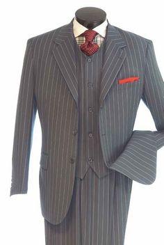 Vittorio St Angelo Men's 3 Piece Suit - Executive Bold Stripe