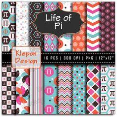 16 Life of Pi Digital Paper Pack  INSTANT DOWNLOAD by KleponDesign, $4.99
