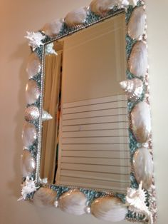 Mother of pearl & turquoise shell mirror by Robin Grubman Grubm5@yahoo.com