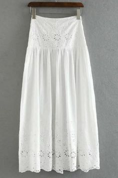 Stylish High Waist Embroidery Hollow Out Solid Color Skirt For Women