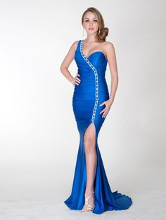 Royal Blue Sequined One-Shoulder Sweetheart Neckline Sleeveless Slit Sweep Train Evening Dress