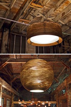 Scraplights: Recycled Corrugated-Cardboard Ceiling Lamps