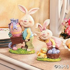 Whimsical Easter Bunny Boy Wagon and Bunny Girl with Basket Figurine Set Easter Crafts, Fun Crafts, Peter Rabbit Cake, Rose Cookies, Clay Fairy House, Clay Fairies, Easter Pictures, Clay Ornaments, Oriental Trading