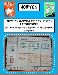 Comparing two Horton stories and other ideas Kindergarten Teachers, Student Teaching, Teaching Reading, Kindergarten Activities, Learning, Life Skills Activities, Book Activities, Dr Seuss Week, Dr Suess